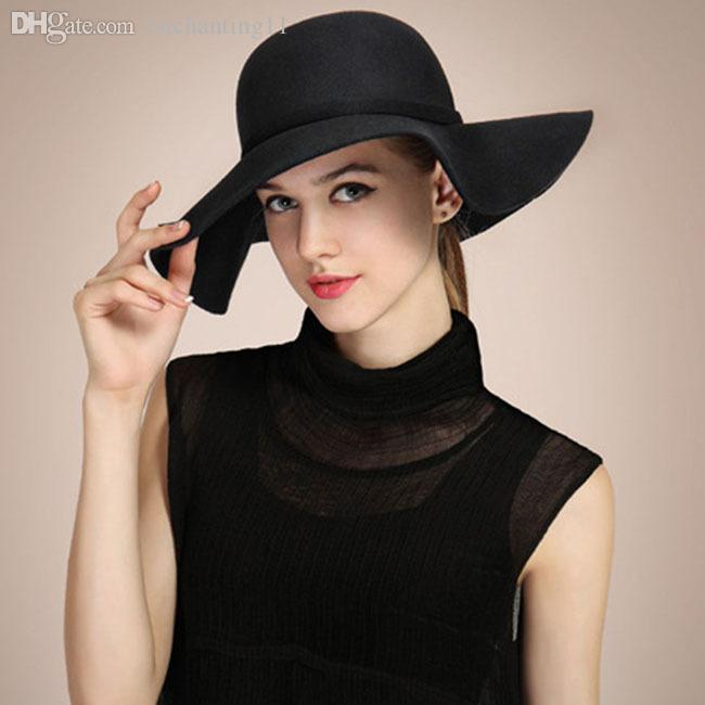 eea82880 2019 Wholesale 2015 New Womens Hat Wide Brim Soft Wool Felt Bowler Fedora Hat  Floppy Cloche Cap Beach Casual Sun Hat Autumn Winter Cap From Enchanting11,  ...
