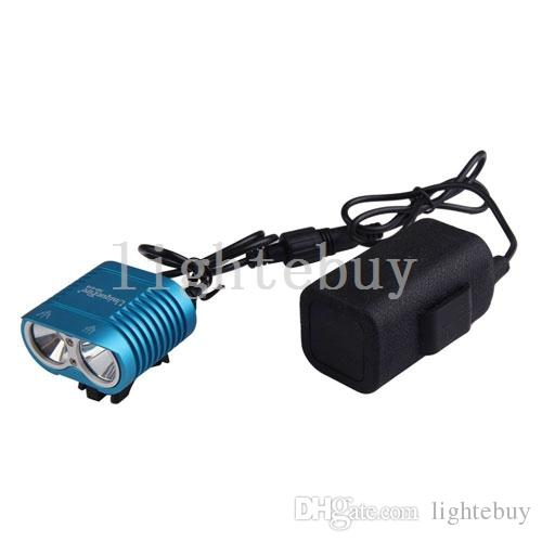 Bicycle Head Light Flashlights 2 x XM-L XML L2 T6 LED Head Torch High Power Headlamps with 18650 Rechargeable Battery charger kit