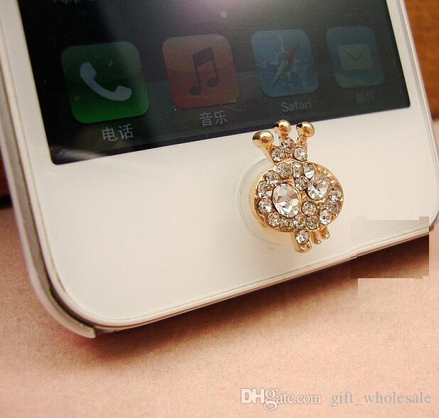 4 Different Styles New Crystal Crown Girl Swan Fox Head Bling Diamond Home Button Sticker for iPhone 4s 4 5 ipad