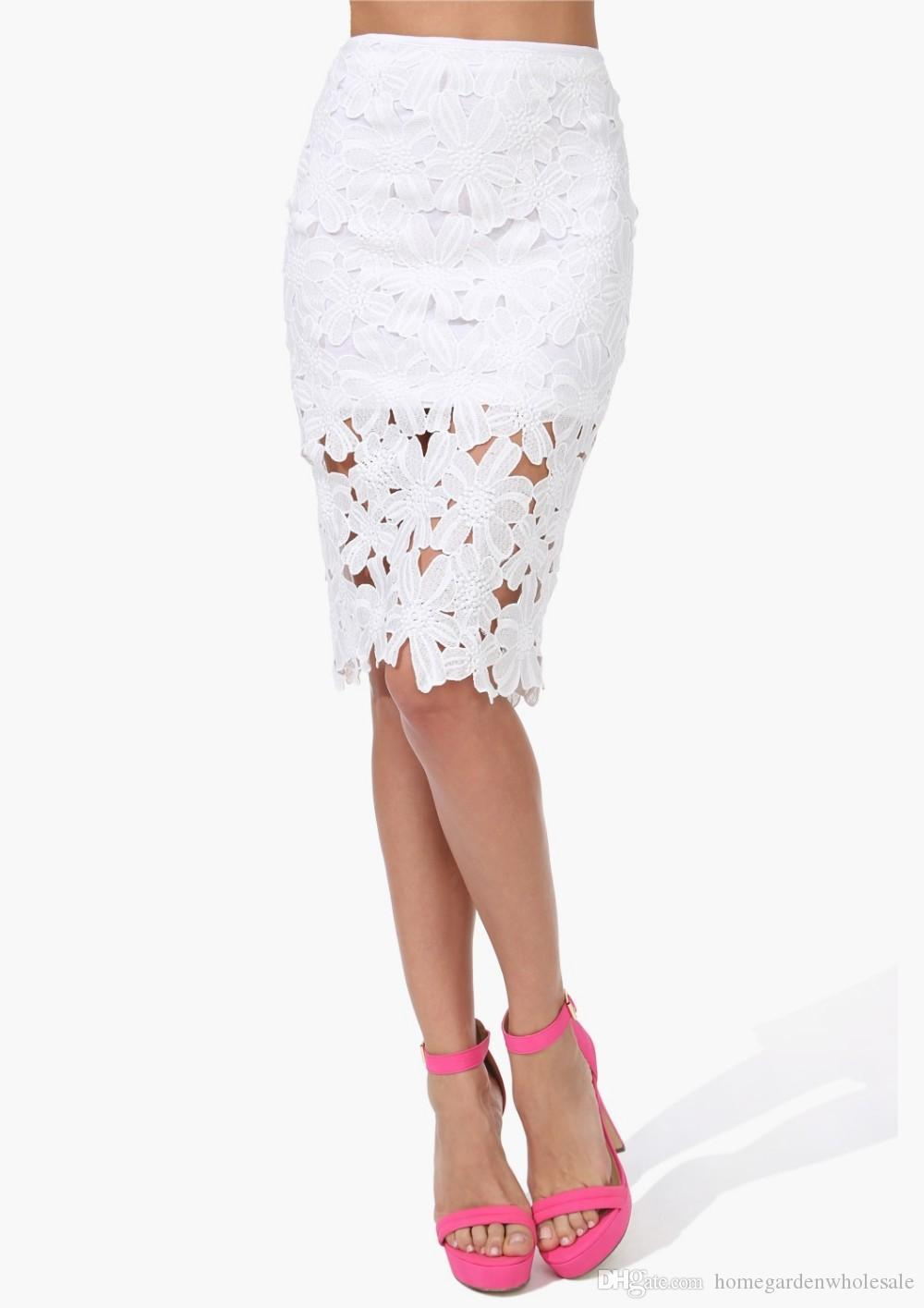 Fashion Zipper Stripes Package Hip Midi Skirt White Black Flower Crochet Hot Sale Women Sexy New Style Pencil Skirts