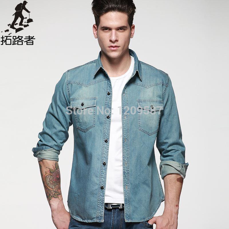 Best ! 2015 Spring New Men Denim Shirt Light Blue Cotton Mens ...