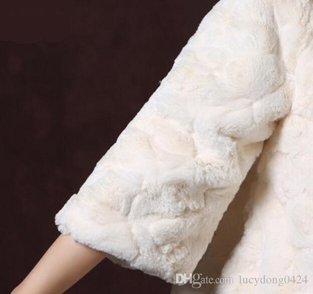 Champagne Faux Fur Bridal Shrug Bolero Cape Stole 3/4 Sleeves Jacket Coat Perfect For Winter Wedding Bride Bridesmaid
