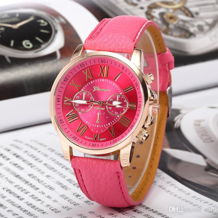 regalo de Navidad Moda de lujo Ginebra relojes Números romanos Reloj Muñeca Piel sintética Colorido Caramelo Lindo cuarzo Muñeca exquisita DHL