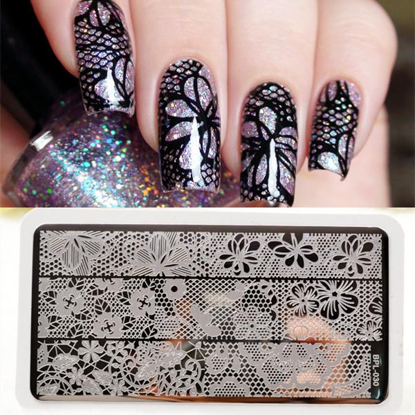 Bp L030 Full Lace Plate Nail Art Stamp Template Image Rctangular ...