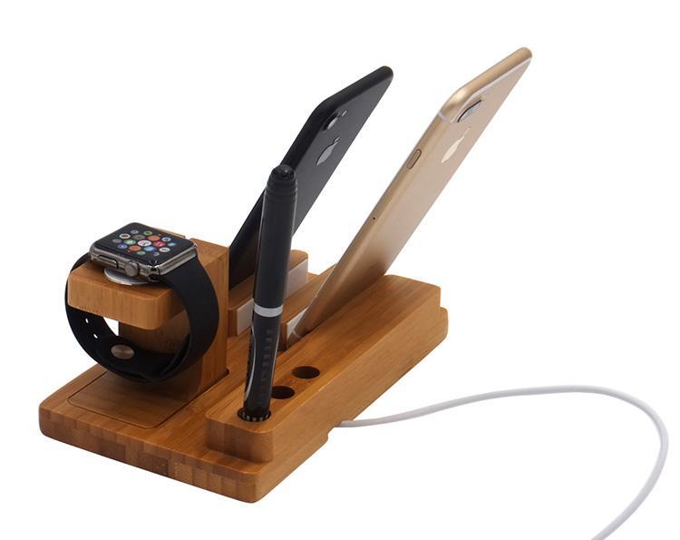 Universal Wood Bamboo Charging Dock Stand Mobile Téléphone Watch Station Titulaire De La Station Pour Iphone 8 X 7plus 6s Chargeur Stands Porte-Stylo DHL Gratuit
