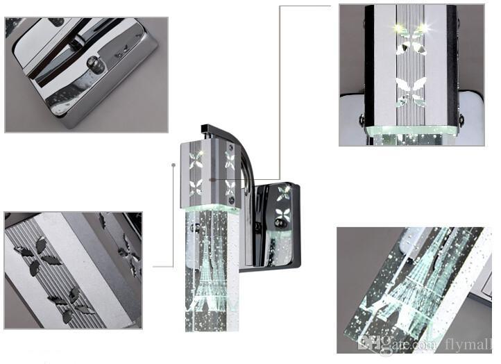 5W LED de cristal moderna nova bolha Lâmpada de parede de cristal Cilindro Forma Coluna Sala Lâmpada de parede Espelho de Luz RGB Warm White Chandelier Luz