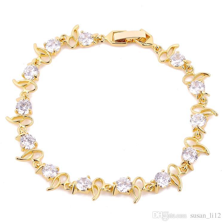 Lady's 24k Yelllow Gold Wypełniony Biżuteria Multicolor Wyczyść Bransoletka Najlepszy Prezent Darmowa Wysyłka