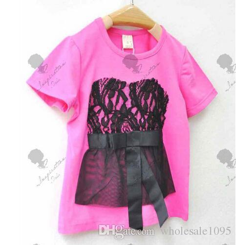 El más barato! ! Los niños de la camiseta de las muchachas del arco del cordón de manga corta T-shirt por mayor de punto
