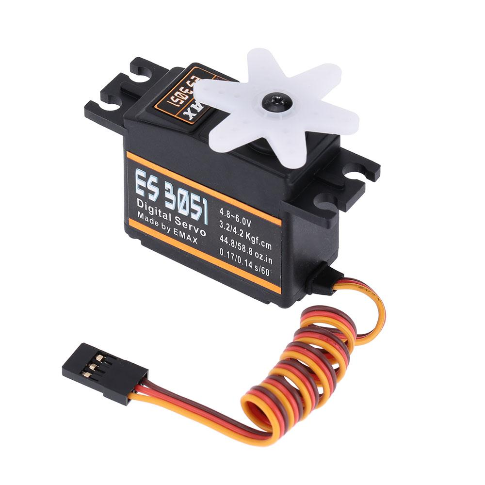 EMAX ES3051 Plastic Digital Bearing RC Servo for RC Helicopter Airplane Parts order<$18no track