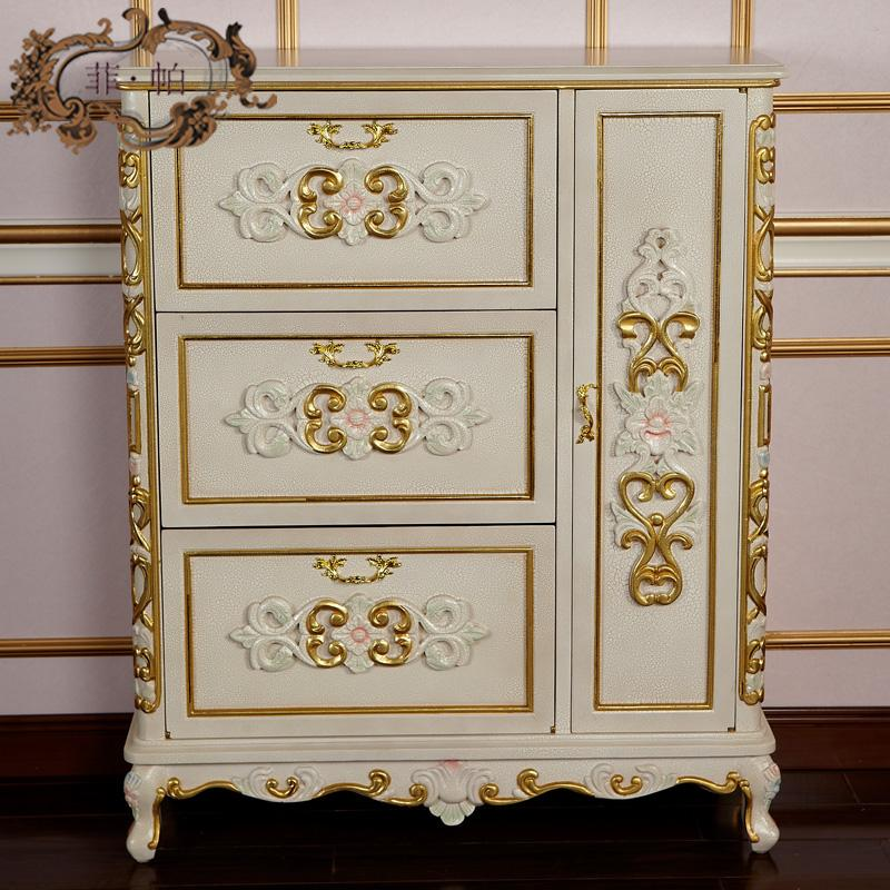 Luxury Living Room Furnitureeuropean Style Furniture Goldantique Hand Carving Leaf Gilding Shoe Cabinet Free Shipping