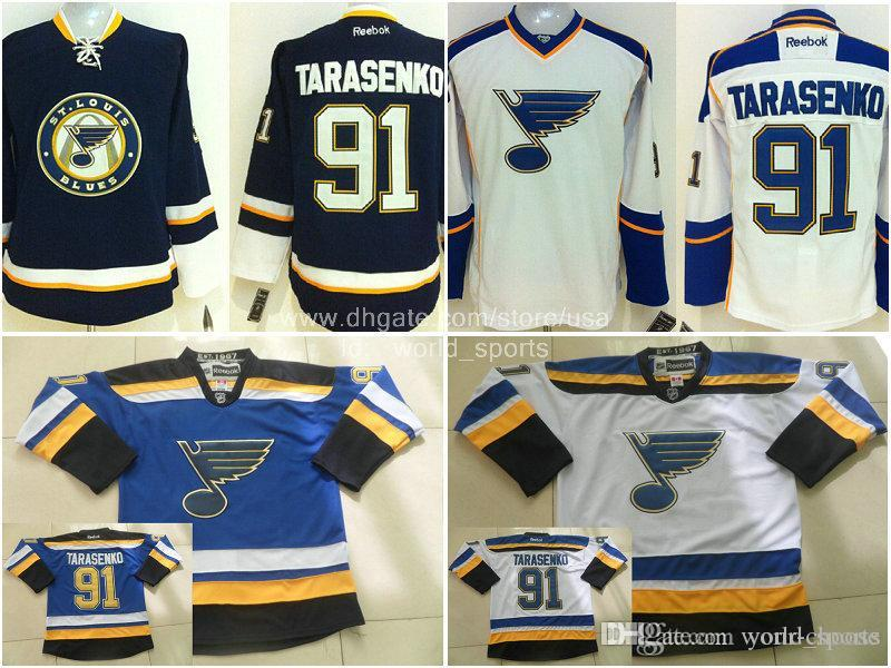 St. louis Vladimir Tarasenko # 91 Navy Tird Luz Azul Blanco cosido blues NHL Hockey Jerseys de Hielo