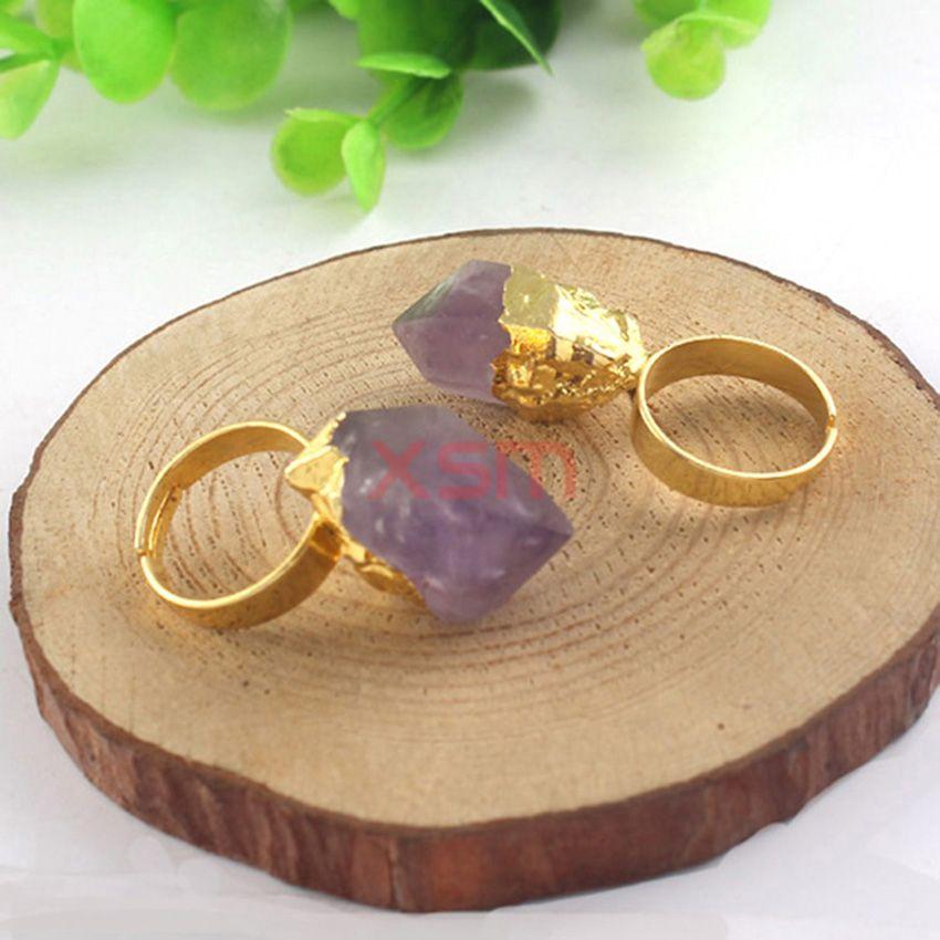 10 stücke vergoldet Charme Natürliche frauen Ring, verlobungsring, Amethyst Kristall knospe ringe für frauen modeschmuck