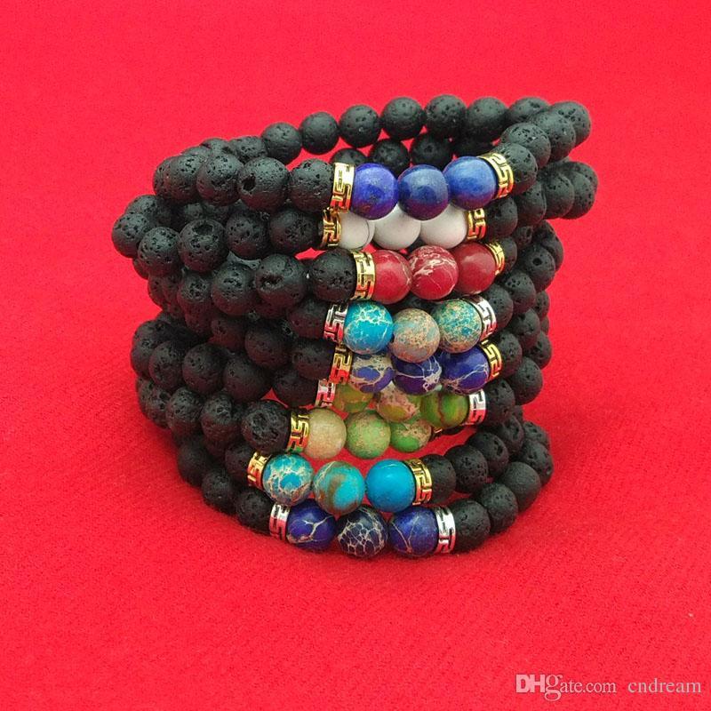 Lava Rock Stone Beads Pulsera Piedra Natural Turquesa Oración Buda Pulsera Brazalete Brazaletes para Mujeres Hombres Joyería de Moda Envío de la gota