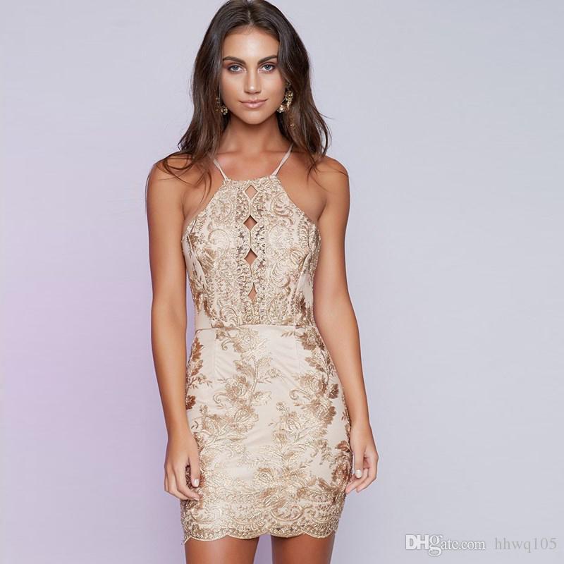 Großhandel Neue Stickerei Bodycon Party Kleid Halter Backless Short  Abendkleid Gold Floral Abend Cocktailkleider Clubwear LJG1103 Von Hhwq105,   19.3 Auf De. b032677102