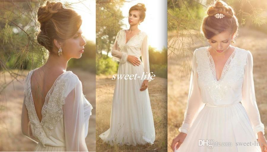 Cheap Wedding Dresses Plus Size Under 100 Dollars: Simple Long Sleeve Boho Wedding Dresses Deep V Neck Empire