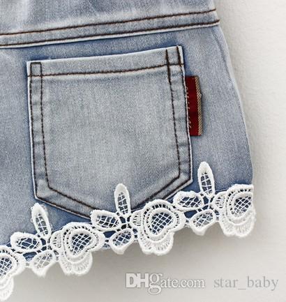 Ropa para bebés Ropa para niñas de encaje Pantalones cortos Jeans Ropa para niños 2015 Verano para niños Demin Short Jean Pantalones casuales Marca Cowboy Pant Blue I2646