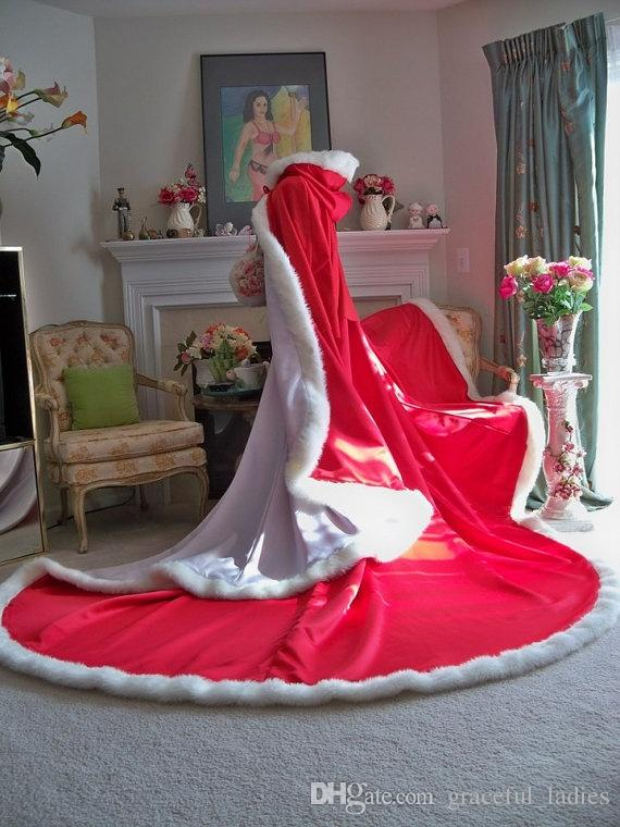 Kırmızı Noel Düğün Pelerin Kış Gelin Pelerin 96 Inç Beyaz Saten Kürk Trim ile Reversibl Kapşonlu Cape / Pelerin Örgün Durumlar Parti için
