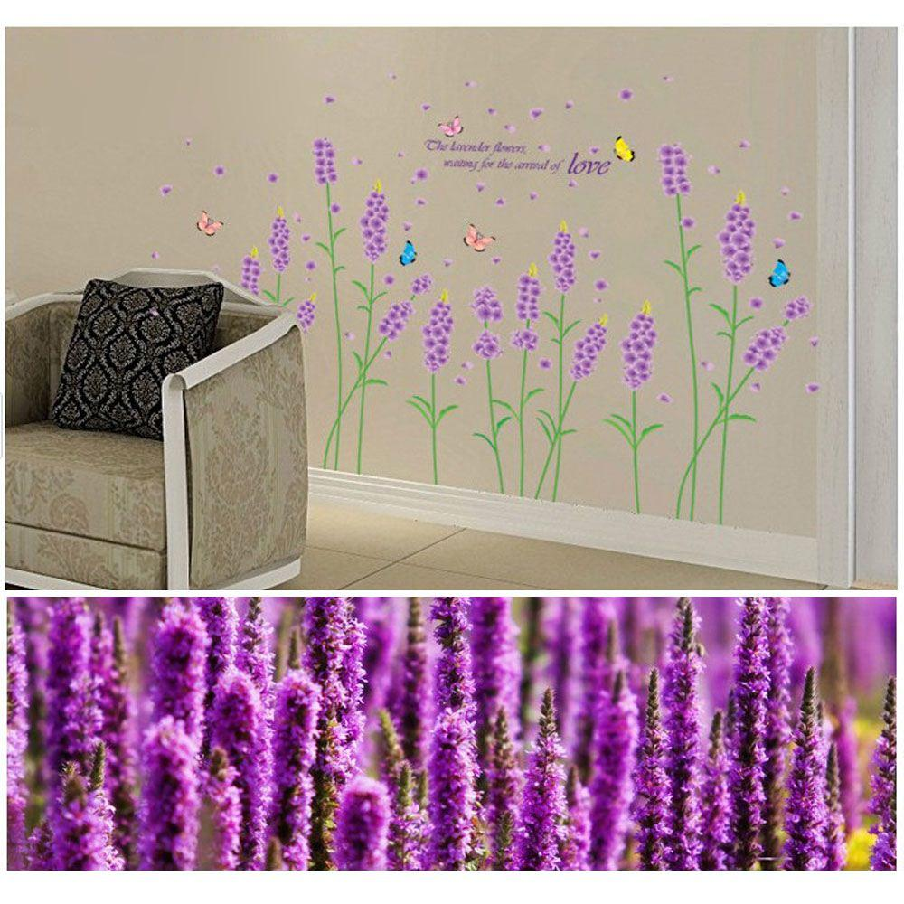 Purple Pollen Removable Wall Art Decal Sticker Diy Home: Purple Lavender Flower Wall Stickers Removable Romantic