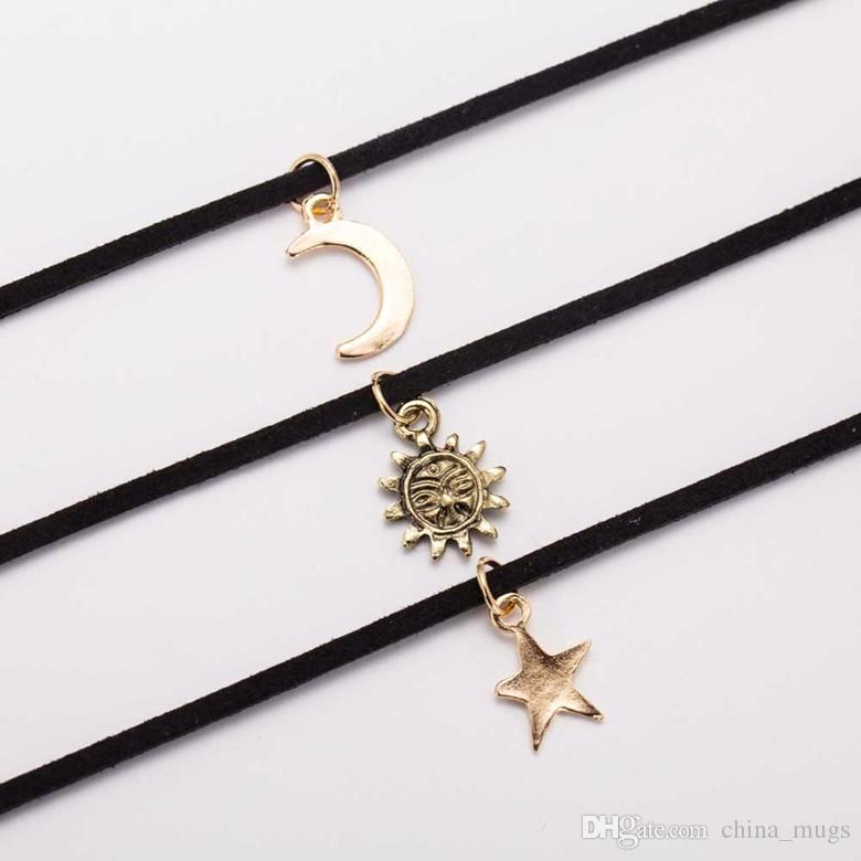 Sets Chokers Necklaces Alloy Star Moon Sun Pendants Maxi Necklaces For Unisex Hot-selling Necklace Sets