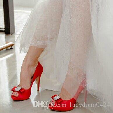 أعلى جودة بلورات أحذية الزفاف 9.5 سنتيمتر عالية الكعب أحذية الزفاف مخصص العاج / الأحمر حزب النساء أحذية الزفاف