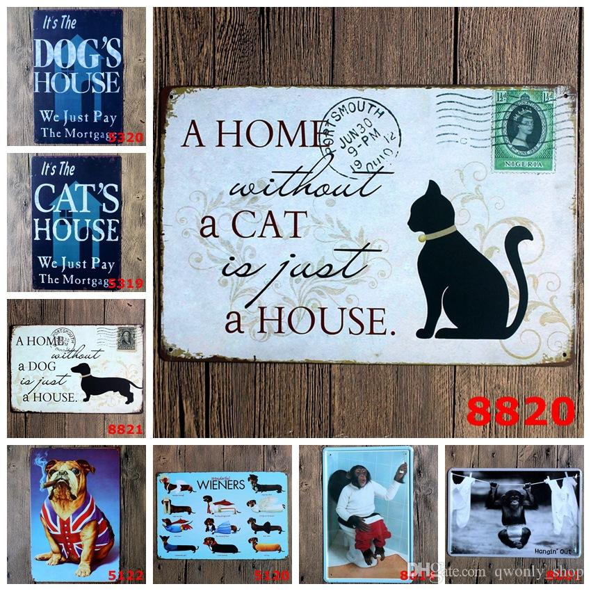 A Home without a CAT is just a HOUSE Postcard Picture Wall Stickers Decor Iron Retro Tin Metal Signs Plaques