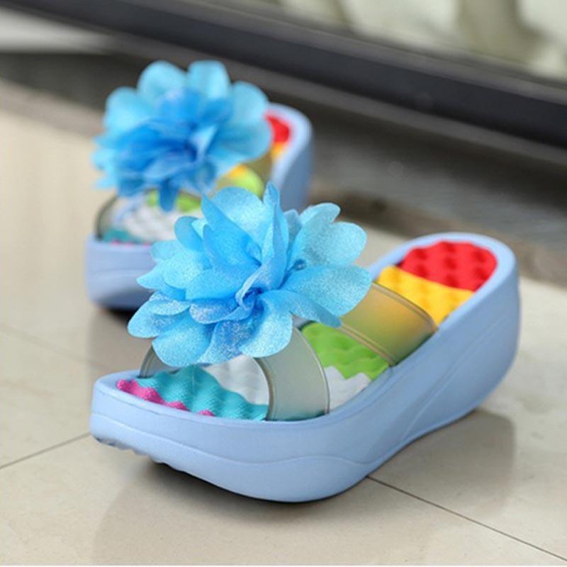 2017 new summer Women's Flip-Flop Sandals Platform flip flops slippers sandals swing wedges sandal women hole shoes plus size