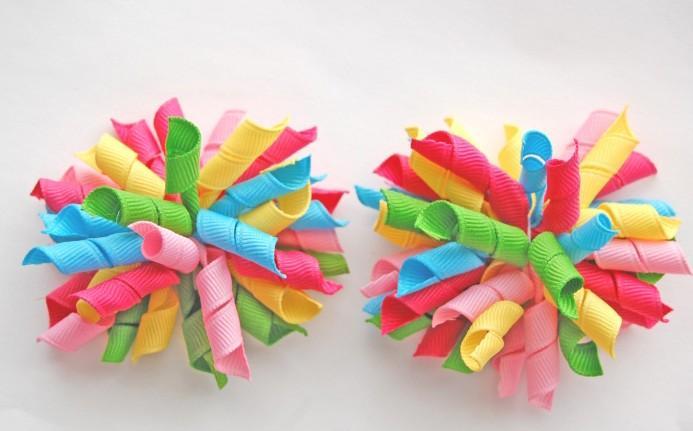 Gratis frakt 3.5 inches Korker Bows för att blanda hundratals färgkorker hårklipp Färgglada barns curlers bows blommor pd007