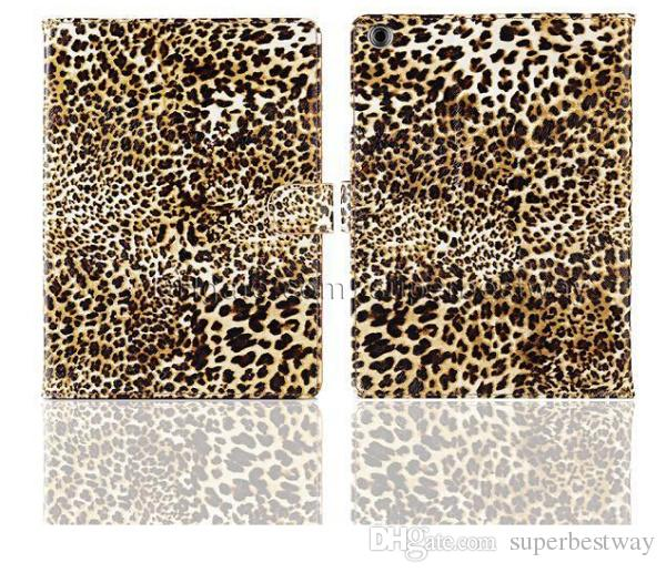Custodia in pelle magnetica Smart Case Cover in pelle PU Leopard Print Apple iPad Mini ipad 2 3 4 5 aria con Stand funzione sveglia in sonno dhl gratuito PCC037
