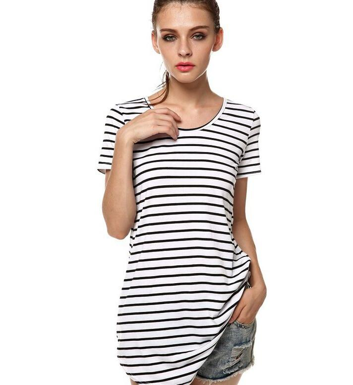 Europe Sexy Beach Dresses 2016 Fashion Women's Striped Dovetail Dresses Short-sleeved Round Neck Mini Night Club Dresses for Womens