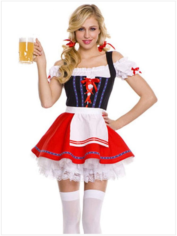2015 Dropshipping Halloween Costumes Bar Girl Waitress Costumes A ...