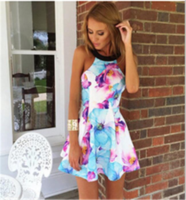 ホット販売2015プラスサイズのドレス女性プリントビッグフローラルブラックショルダーストラップレスドレスファッションノースリーブミニハイウエストカジュアルドレス