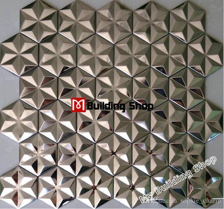 2018 Silver Metal Mosaic Stainless Steel Wall Tiles Backsplash