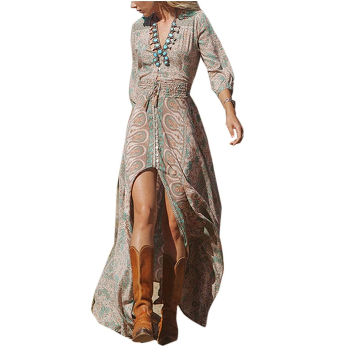 2015 Women Maxi Winter Dress Vestidos Bohemian Long Sleeve Print ...