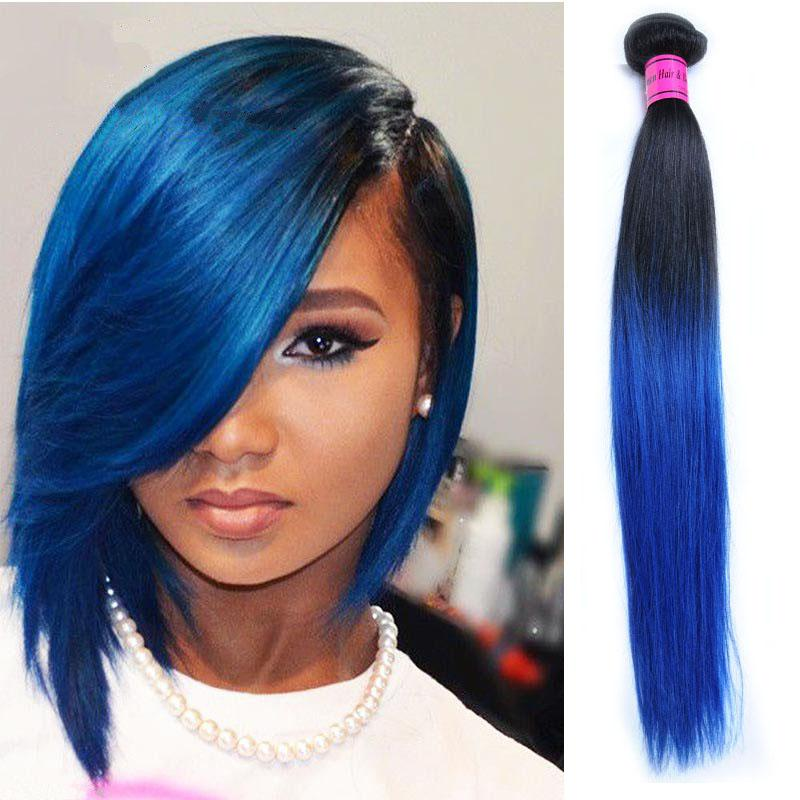 Ombre blue straight human hair weave 6a blue ombre weave 4 bundles see larger image pmusecretfo Choice Image
