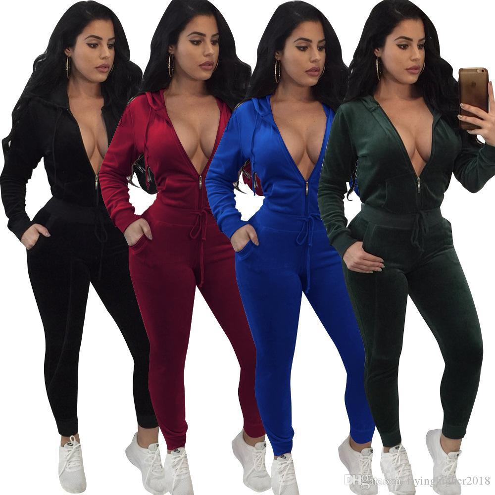 Ladies Fashion Casual Autumn Velvet Two Piece Outfits Playsuit Jumpsuit  Womens Fall Long Sleeved Solid Color Long Pants + Hooded Shirt UK 2019 From  ... d35833ca7d