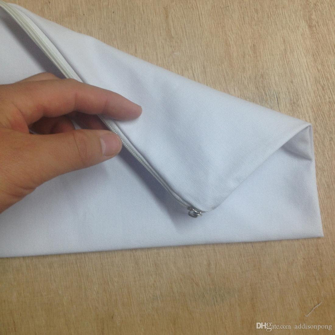 plain white color pure cotton canvas coin purse with white zipper unisex casual wallet blank cotton pouch for custom paint