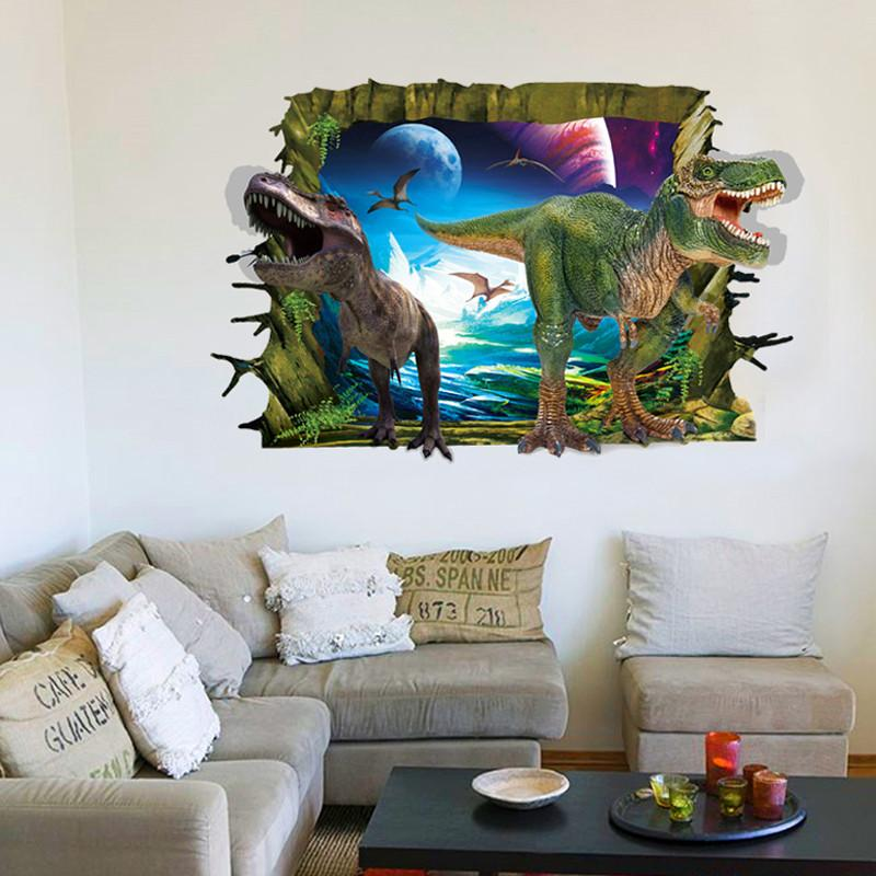 Charming Large 60*90cm 3D Effect Dinosaur Self Adhesive Vinyl Removable Decal For  Nursery Kids Bedroom Bathroom Home Decor PVC Wall Stickers Mural
