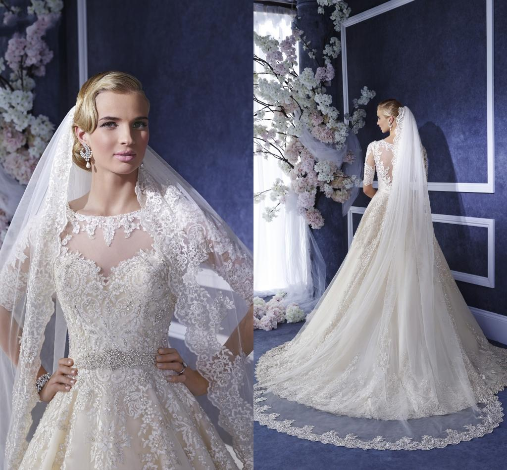2016 New Arrival Cheap Wedding Veils Lace Appliques Beaded Crystals White Tulle Cathedral Length Bridal Single Layer Custom Made