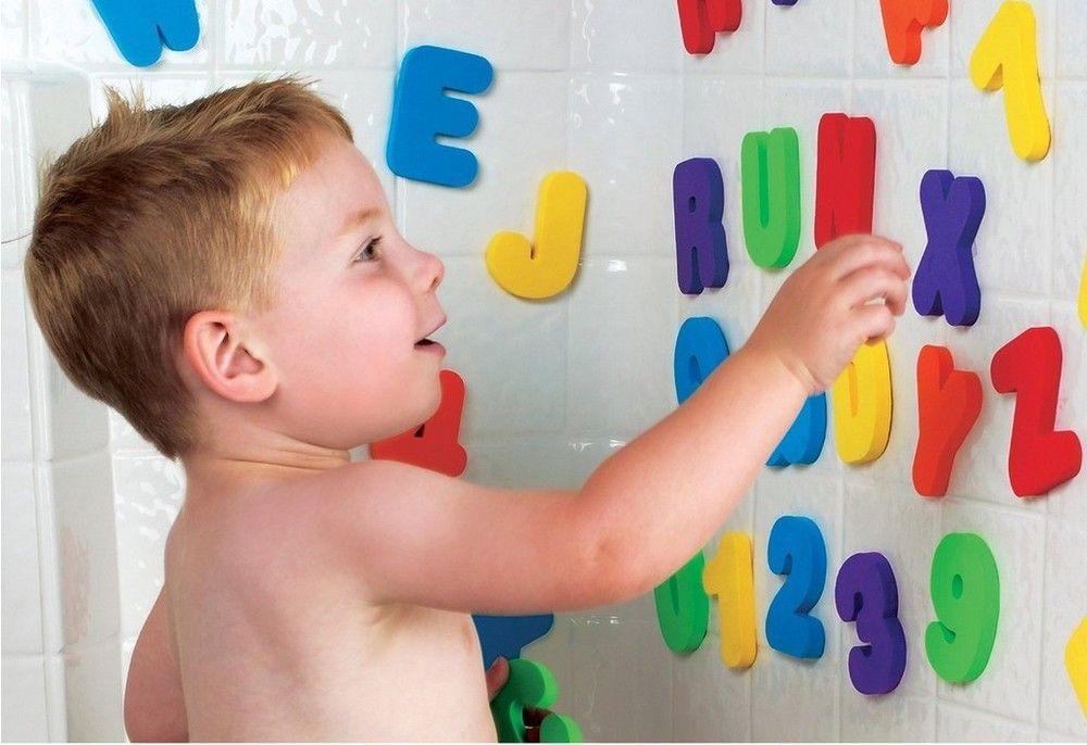 Çocuklar Çocuk Bebek Banyo Oyuncakları Letterdigital 36 Adet / takım su oyuncakları Klasik oyuncaklar Eğitici EVA toksik Olmayan