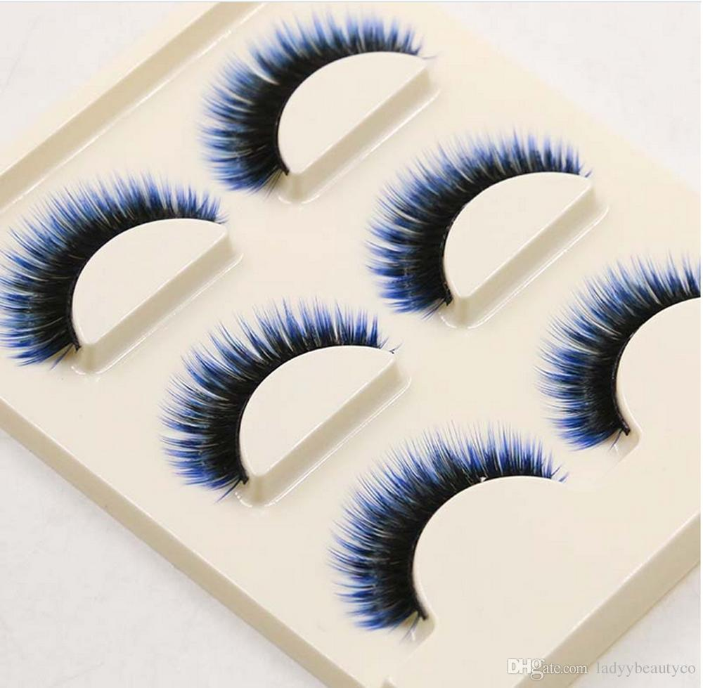 Y-6 Ladyy eyelashes Fashion Long Mixed Colors Black Blue False Eyelashes Beautiful Makeup Eye Lashes Make Up Beauty Tool