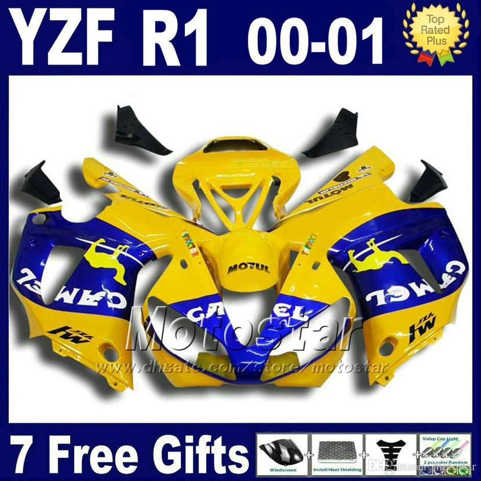 طقم هيكل أصفر CAMEL لياماها 2000 2001 YZF R1 fairing kits yzf1000 00 01 yzfr1 fairings set هيكل السيارة U7W + 7 هدايا