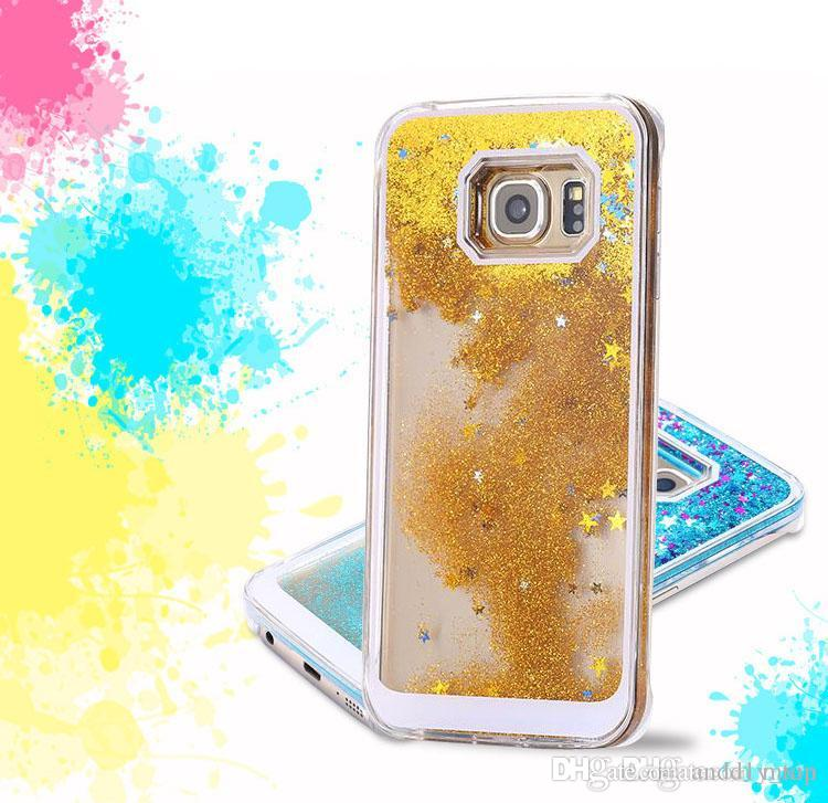 new product 0c823 299f0 Floating Glitter Star Running Quicksand Liquid Dynamic Case For Samsung  Galaxy S6 Edge Plus Note 5 Grand Prime Core G530 G360 A5 A7 MOTO G2