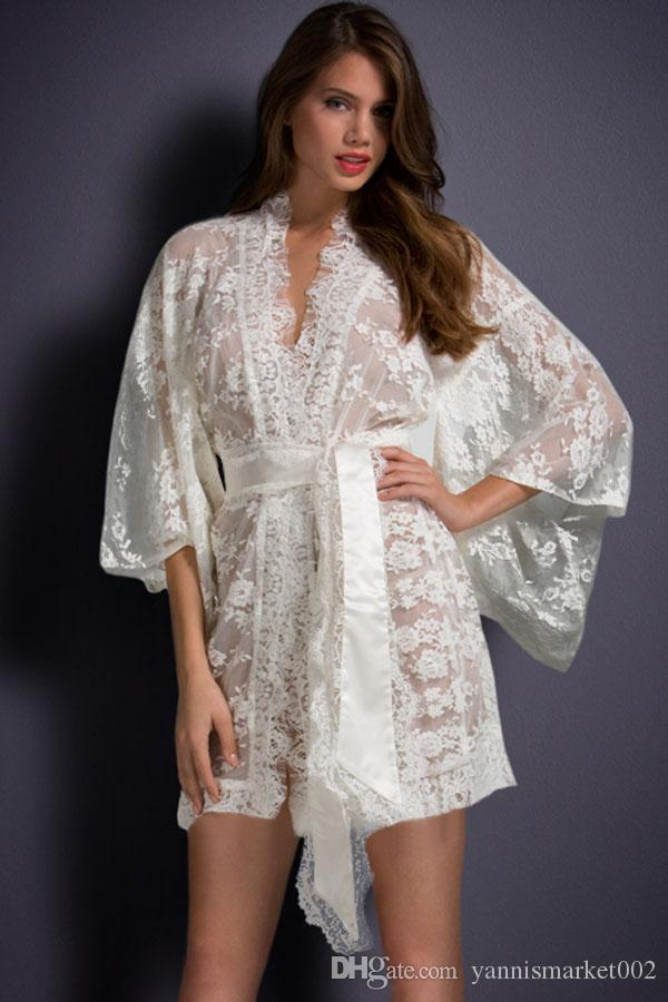 Compre Branco Preto Rosa Sheer Transparente Lace Kimono Roupão Babydoll  Sleepwear Robe Vestido De Noite Plus Size Sexy Lingerie Pijamas Nightgowns  De ... 873cc687346