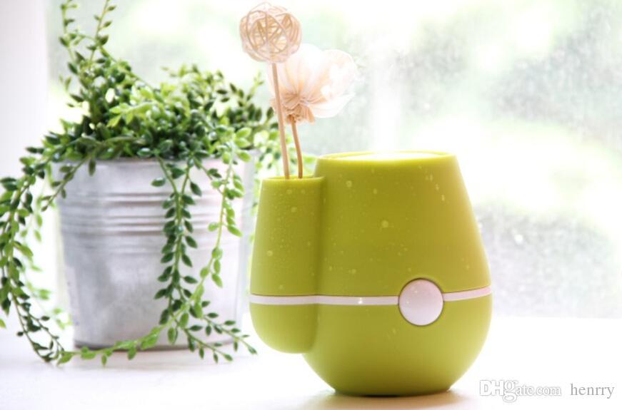 創造的な小さい花瓶加湿器、USBミニデスクトップサイレント空気清浄機、超音波噴霧加湿器タンク容量220ml