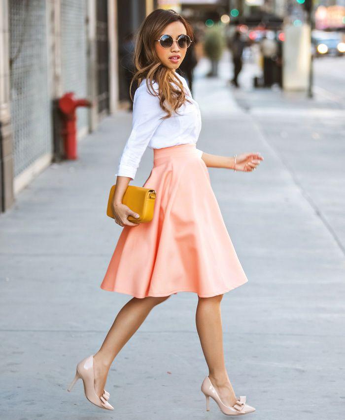 3f33fe433 2019 Fashion Women High Waist Flared Skirt For Women Top Quality Summer  Style A Line Midi Dress Saia Moda Feminina Faldas Mujer Pink G1095 From  Abestbuy, ...