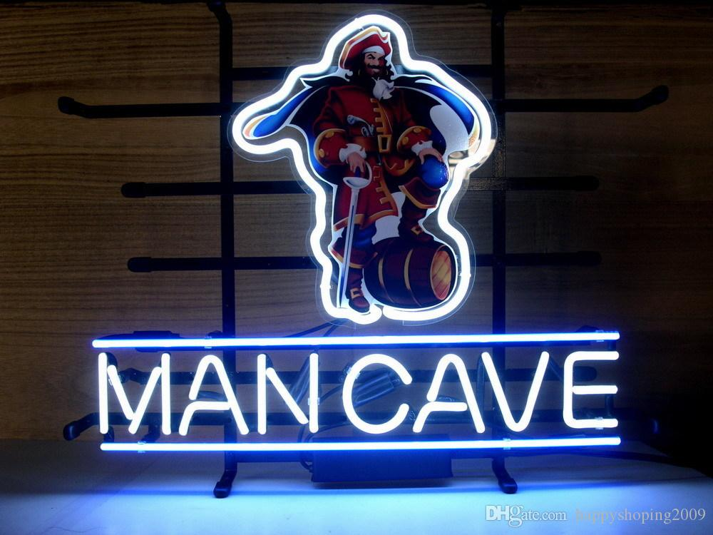 Man Cave Neon Signs For Sale : Captain man cave bike real glass tube neon beer bar wall sign
