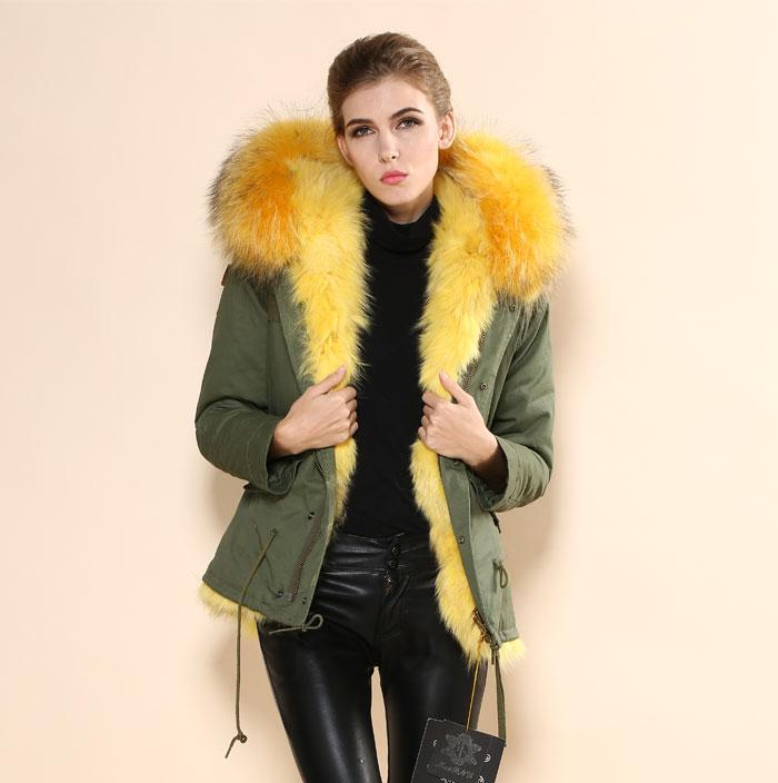 2018 2015 Warm Winter Army Green Parka Fur Coat,Real Fox Fur Large ...