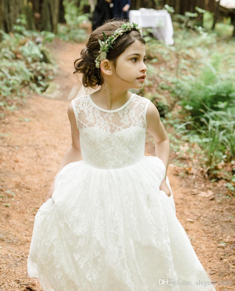 Romântico New Arrival Boho país Vestidos Da Menina de Flor Para Casamentos Barato Lace Em Camadas Formal Pageant Casamento Formal Vestido Custom Made