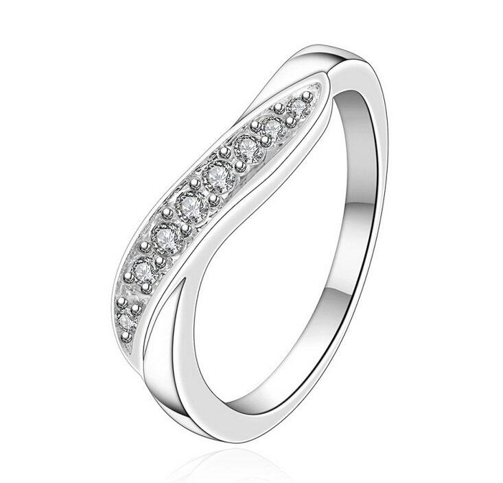 Galjanoplastia 925 Anillos de señora de lujo de plata esterlina con muchos cristales austriacos Anillos de boda Joyería Envío gratis