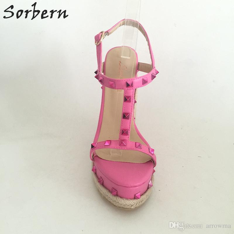 2017 Bridal Wedding Shoes Ladies Wedges Sandals Rivets Sexy Women Sandal Plus Size Ladies Party Shoes T Straps Buckle Strap Cheap Shoes
